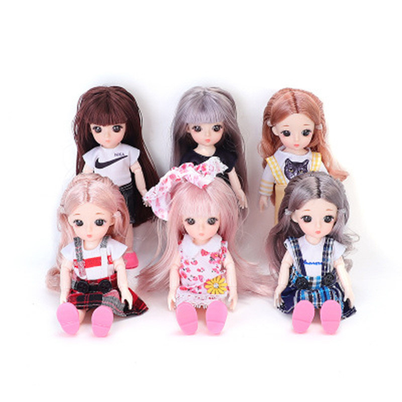 6pcs 16cm Fashion BJD Princess Dolls With Dress And Shoes 13 Joints Movable 3D Beautiful Pupil Cuddle Sweetest Gifts For Girls