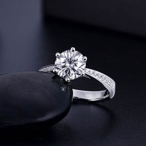 Moissanite-Ring Engagement-Ring Diamond White Gold 3ct Round 14K 1ct 2ct Brilliant-Cut
