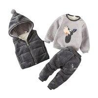 3pcs/Lot! Winter children's clothing baby boys girls suit Super warm fleece sweater + Hooded vest + pants Infant thickening suit