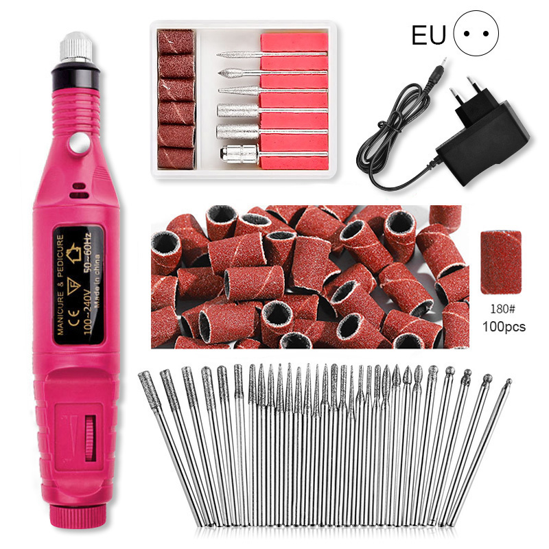 Professionelle Elektrische Nagel Bohrer Maschine Set mit 30 stücke Nagel Bohrer Bits 180 # Nagel Schleifen Kopf Schleifen Maniküre Dateien werkzeuge