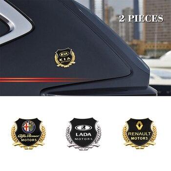 2PCS Metal Car Side Sticker Door Badge Stickers Side Window Emblem Decals For Audi BMW TOYOTA NISSAN Ford CITROEN Skoda Hyundai dsycar 1 pair 3d metal turbo car sticker emblem badge for jeep bmw ford volvo nissan mazda audi vw honda toyota lada chevrolet