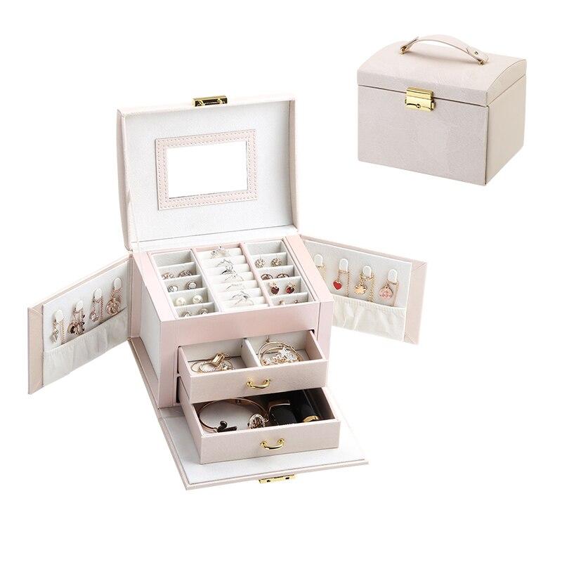 2020 Luxury Jewelry Box Organizer Large PU Leather Drawer Jewellery Earring Ring Necklace Storage Case Girls