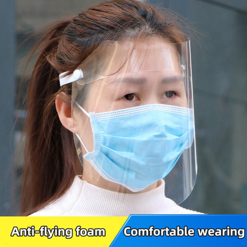 Adjustable Plastic Full Face Cover Anti Droplet Dustproof Protective Full Face Mask Visor Shield Droplet Windproof Face Shield