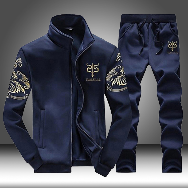 Brand Men Sportswear Sets Running Sports Fitness Tracksuit Male Two Pieces Sweatshirt+Sweatpant Gym Clothing Trainingspak Mannen