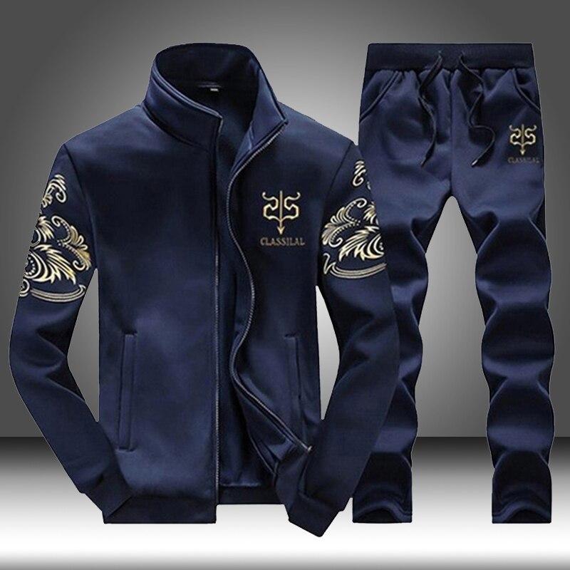 Brand Men Sportswear Sets Running Sports Fitness Tracksuit Male Two Pieces Sweatshirt+Sweatpant Gym Clothing Trainingspak Mannen