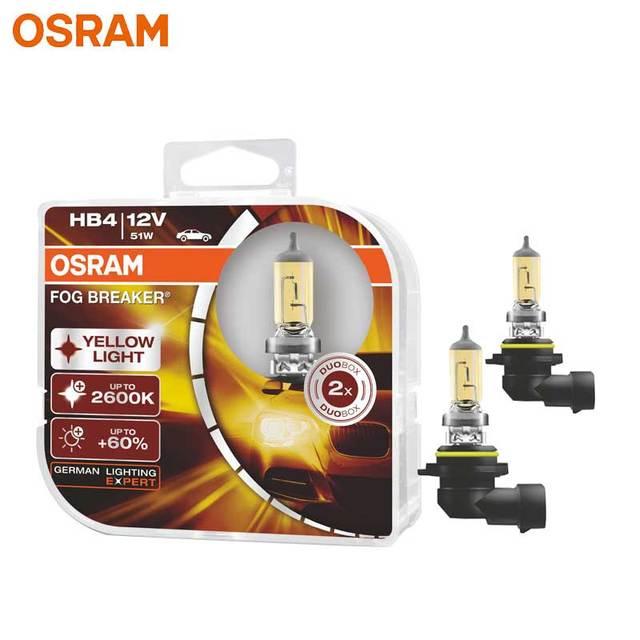 OSRAM Fog Breaker 9006 HB4 Super Yellow Car Head Light Lamp Fog Bulb +60% Light +200%   12V 51W 2600K 9006FBR (Twin)