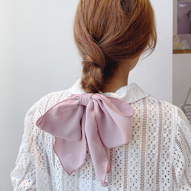 Simple Solid Color Large Bows Hair Ties Ponytail Holder Elegant Women Elastic Hair Rubber Band Cute Hair Bows Girls Accessories