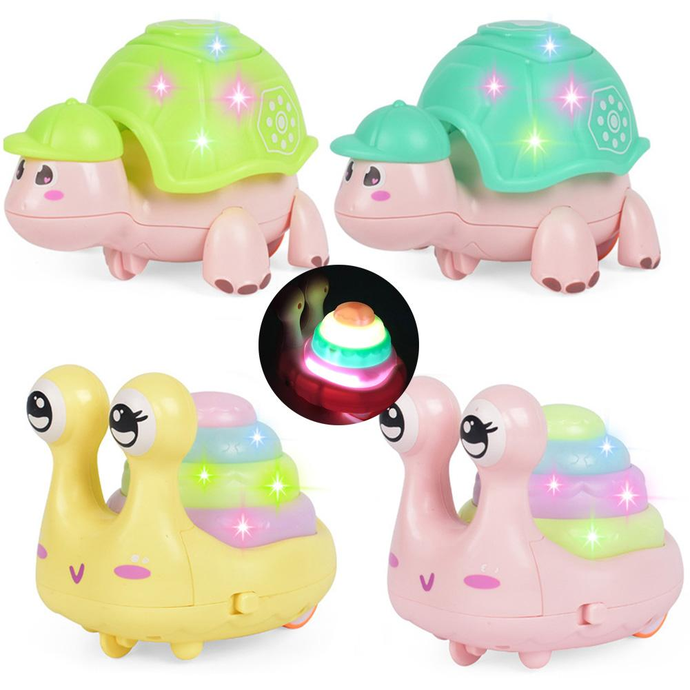 Cartoon Snail Tortoise Animal Press Walking Car With LED Music Education Kids Toy