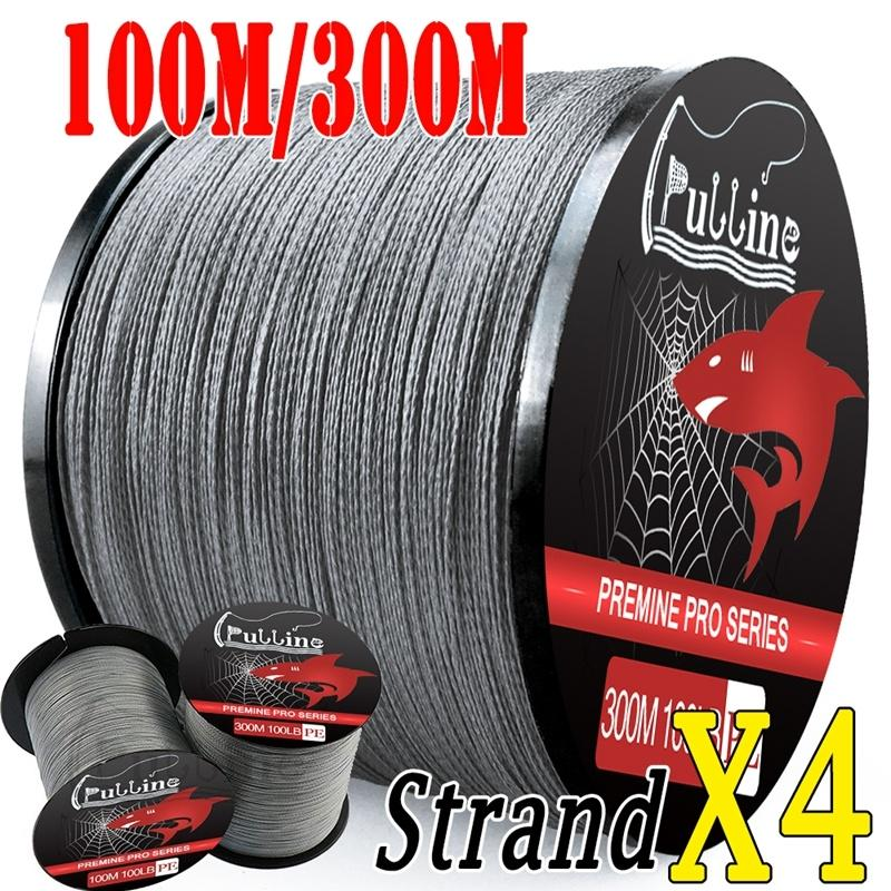 PULLINE Fishing Line 100M/300M Super Strong 4 Strands 6lb-100lb Braided Line Fishing Line Grey Color Fishing Tackle PE Lines
