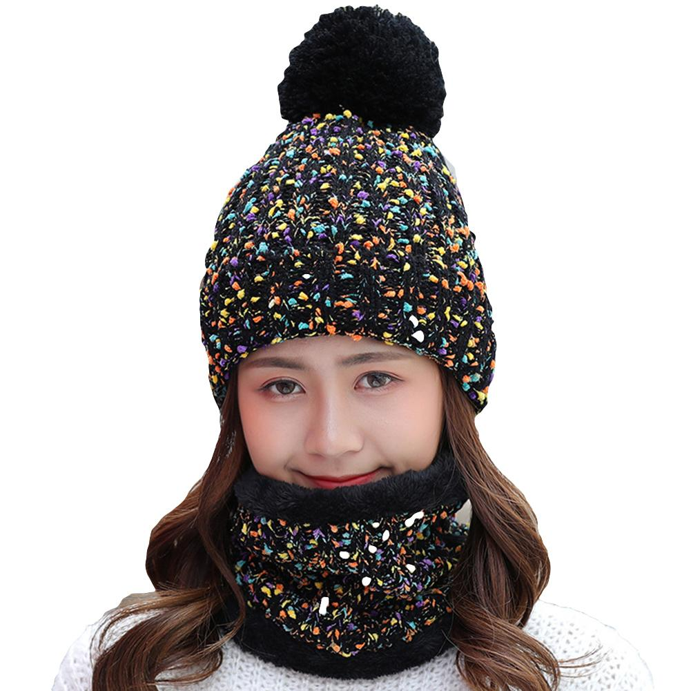 2Pcs Winter Women Knitted Pompom Beanie Hat Thick Warm Skull Cap Bib Scarf Set