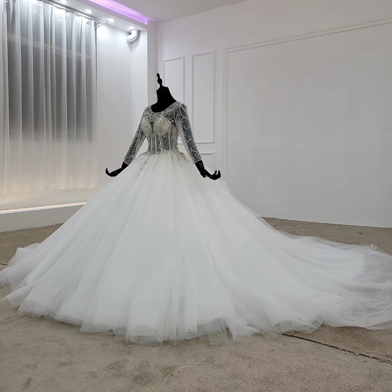 Image 3 - HTL1101 like white wedding dress long sleeve o neck lace up open back crystal corset bridal gowns European and American styleWedding Dresses   -