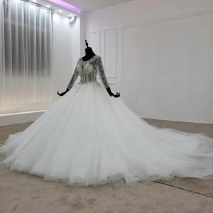 Image 3 - HTL1101 مثل فستان الزفاف الأبيض طويلة الأكمام س الرقبة الدانتيل يصل مفتوحة الظهر الكريستال مشد زي العرائس النمط الأوروبي والأمريكي