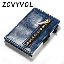 Zovyvol 2021 nova chegada titular do cartão de crédito negócios couro do plutônio fibra carbono preto cartão carteira caso rfid bloqueio bolsas