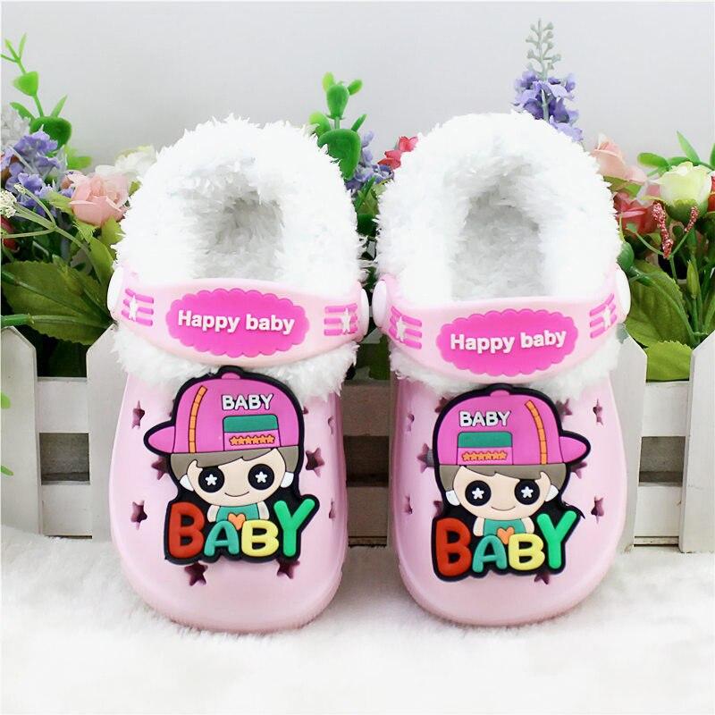 Детские сандалии; детские тапочки; сезон лето-осень; обувь для малышей; Домашние сабо с вырезами; обувь для пляжа и сада; съемная шерстяная нескользящая обувь - Цвет: pink 1