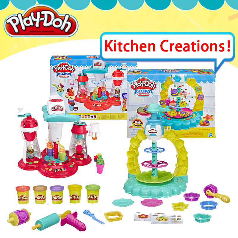 Original Play Doh Colorful Mud Cookie Tower Mold Tornado Ice Cream Set Rubber Slime Fluffy Playdough Tools Toys For Children