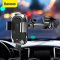 Baseus автомобильный Qi беспроводной держатель для телефона быстрая Беспроводная зарядка для iPhone X Xs зарядное устройство на присоске Автомобил...