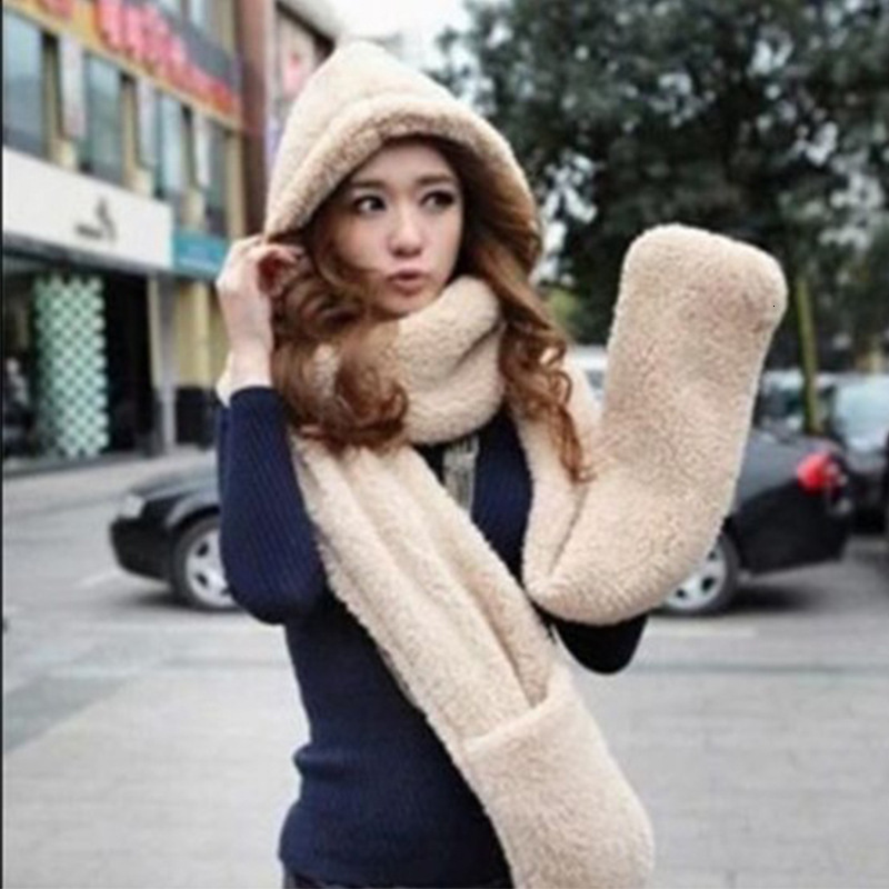 Women Thickening Double-deck Lovers Scarf Hats Glove Sets Winter Keep Warm Even Hat Scarf Plush Warm Three Pieces Sets