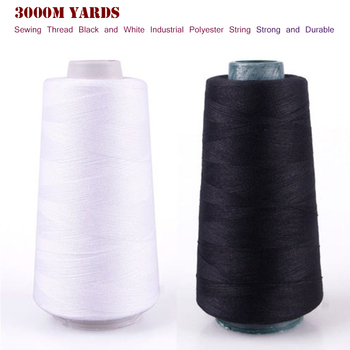 3000M Yards Overlocking Sewing Machine Line Industrial Polyester Thread Metre Cones Strong Durable Clothes Sewing Accessories image