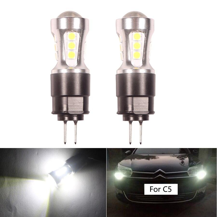 2 шт. белый 6000 К без ошибок HP24W G4 светодиодный лампы для Citroen C5 дневные ходовые огни 3030 18-SMD лампы для Peugeot 3008 дневной свет