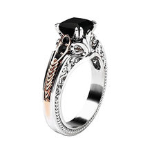 Elegant Fashion vintage Women Rings Black Gemstone Jewelry Wedding Rings Size 6-10 accesorios mujer bagues pour femme love gift(China)