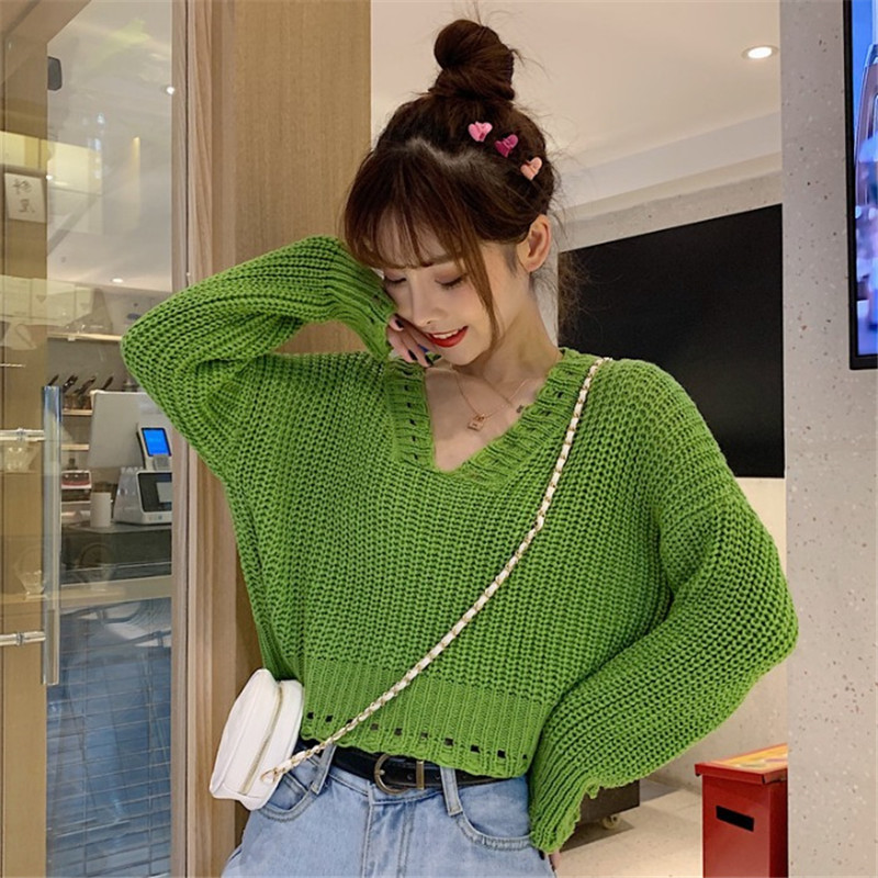Focal20 Streetwear Solid Hollow Out Women Sweater Crop Top V Neck Female Pullover Jumpers Loose Autumn Lady Crop Sweaters Tops