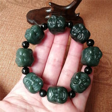 Hetian jade Buddha head Bracelet men's double-sided carving Laughing Buddha domineering Luohan Bracelet string(China)