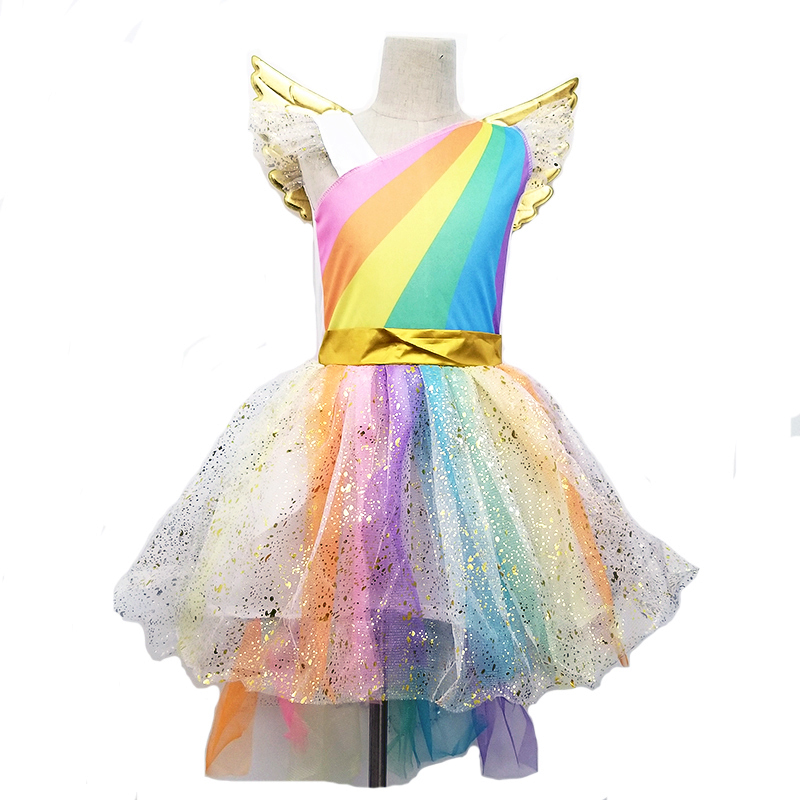 Nwe fille licorne habiller enfants volant manches arc-en-ciel fête danse Tutu robe filles de noël reconstitution historique Tulle Cosplay Costume
