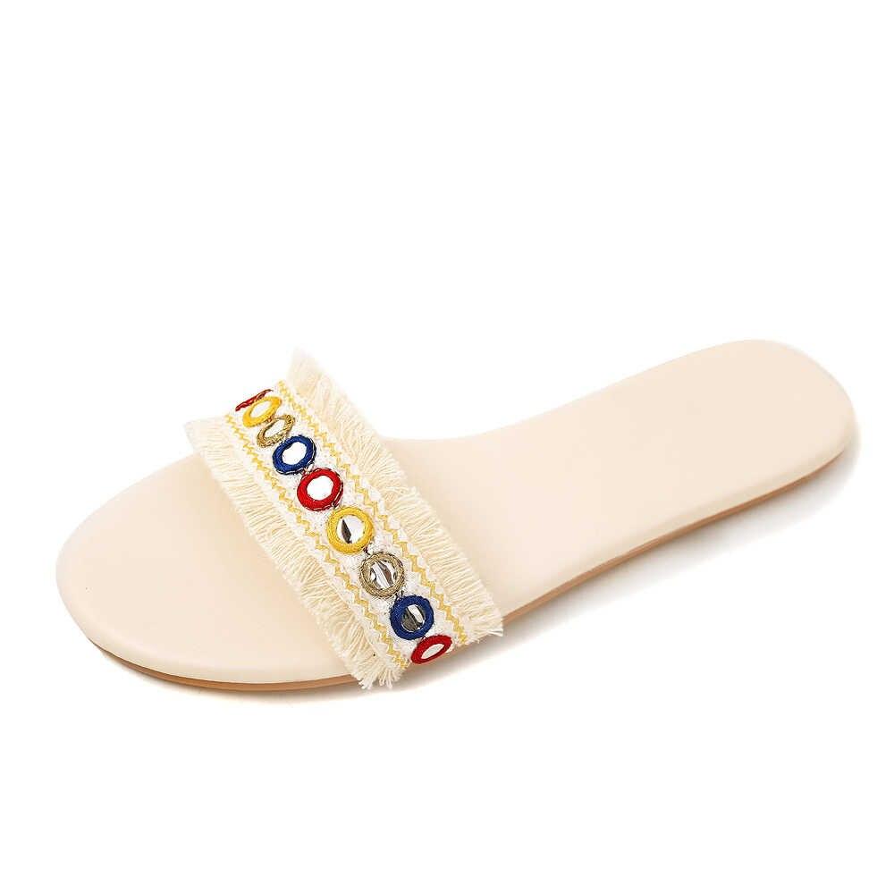 Yeni yaz kadın terlik plaj terlikleri daireler kapalı ve açık moda ayakkabılar kadınlar için artı boyutu 34-43