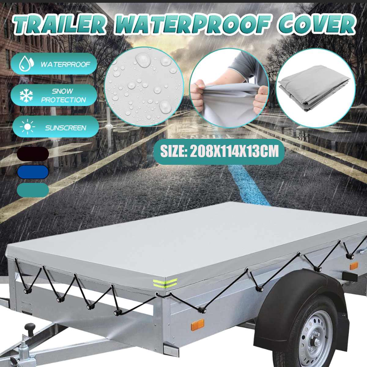 208x114x13cm Trailer Cover Sunshade Outdoor Snow Protection Waterproof Dustproof Car Roof Tent Cover Canopy