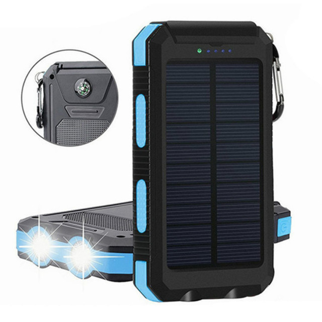 Portable 30000mAh Solar Power Bank Large Capacity Solar Panel Outdoor Travel Charger LED Light Fast Charge Waterproof Charger 1