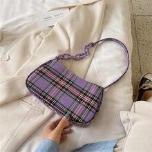 Ecossais Plaid Baguette sac pour femmes épaule sacs à main fille chaîne fourre-tout petit voyage sacs à main 2021 nouveau téléphone portable Bolso Femme
