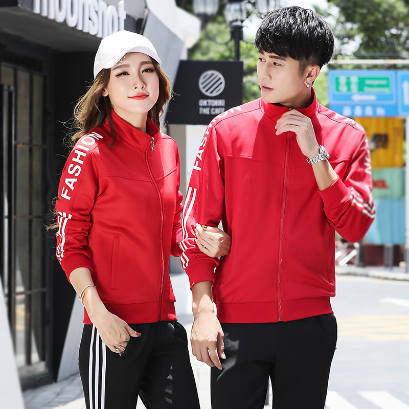Couples Sports Set 2019 New Style Men Fashion Slim Fit Stand Collar Long Sleeve Trousers Two-Piece Set Women's Sports Clothing