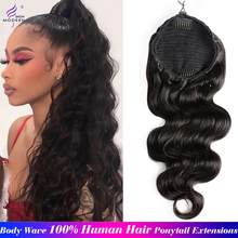 Modern Show Brazilian Hair Body Wave Drawstring Ponytail Human Hair Non-Remy Body Ponytail Extensions 8-26 Inch Natural Color