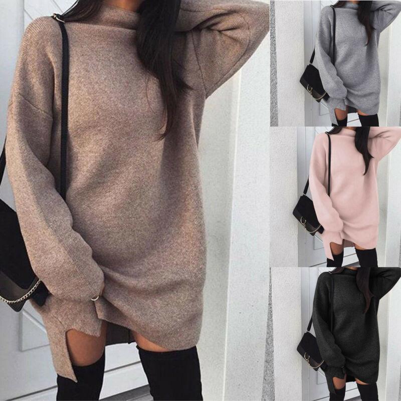 Winter Women Long Sweatshirt Sexy Women Turtleneck Long Sleeve Hoodies Loose Casual Solid  Autumn Warm Pullover Mini Dress