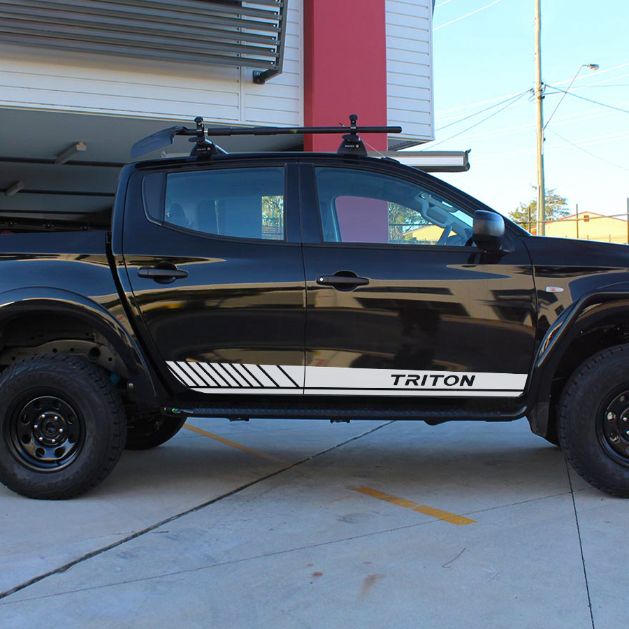 Free Shipping Car Decals 2 Pcs Body Side Waist Car Styling Racing Stripe Graphic Vinyl Fit For Mitsubishi L200 Triton
