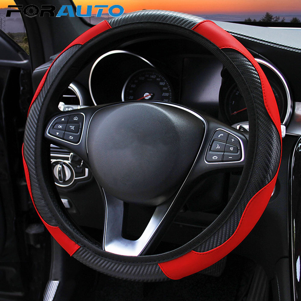 FORAUTO Breathable Anti Slip Car Steering Wheel Cover Car styling Carbon Fiber PU Leather Steering Covers Suitable for 37 38cm Steering Covers     - title=