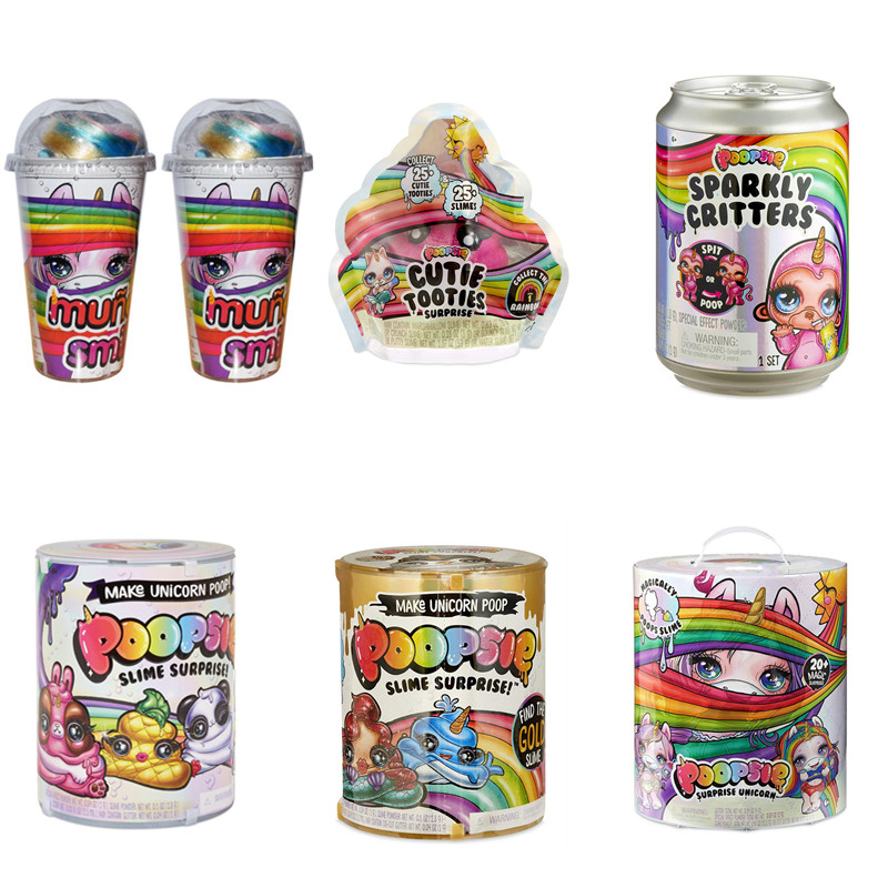 Toys Slime Unicorne Stress Sparkly Critters Poopsie Surprise Reliever Cans