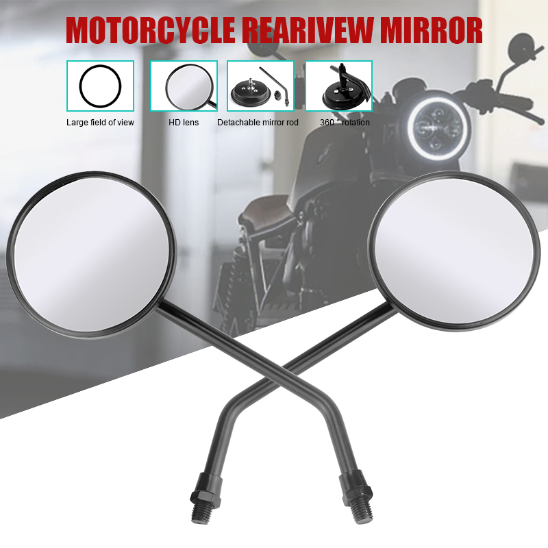Universal motorcycle mirrors chrome black round long stem Motorbike Motorcycle Bicycle Rearview Mirrors 10mm specchietti moto image