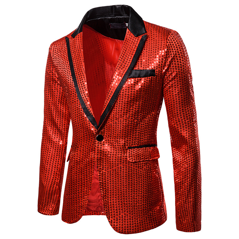 <font><b>Men's</b></font> Red <font><b>Sequins</b></font> Nightclub Prom Suit <font><b>Jacket</b></font> <font><b>Blazer</b></font> <font><b>Men</b></font> Slim Fit <font><b>Blazer</b></font> Masculino Party Stage Clothes for Singers Costume Homme image