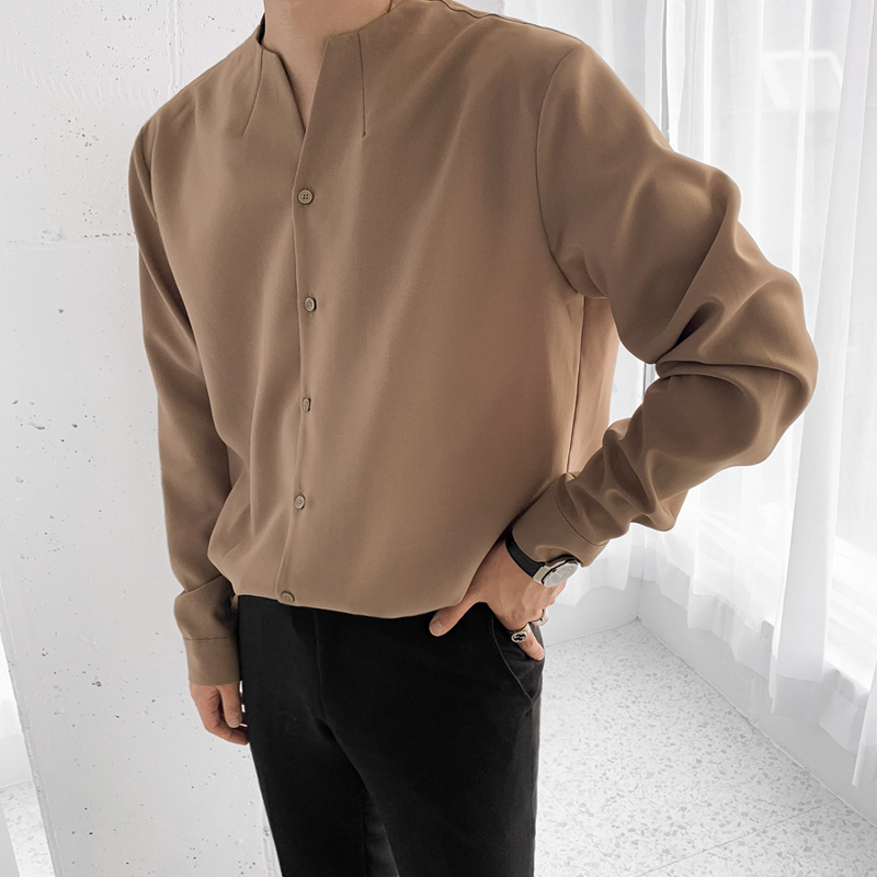 IEFB /men's wear 2020 autumn  casual stand collar solid color shirt for male Personality Trend Handsome Long Sleeve Tops 9Y899 6