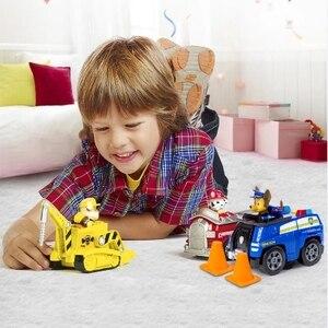 Image 5 - Juego de cachorros de rescate de La Patrulla Canina auténtica, coche de juguete, modelo de figura de acción Chase Skye, coche de escombros, regalo para niños