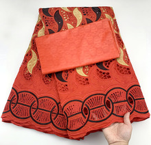 5Yards/Set African Bazin Riche Brode Fabric With Swiss Polyester Lace 2020 Damask Shadda Guinea Brocade Party