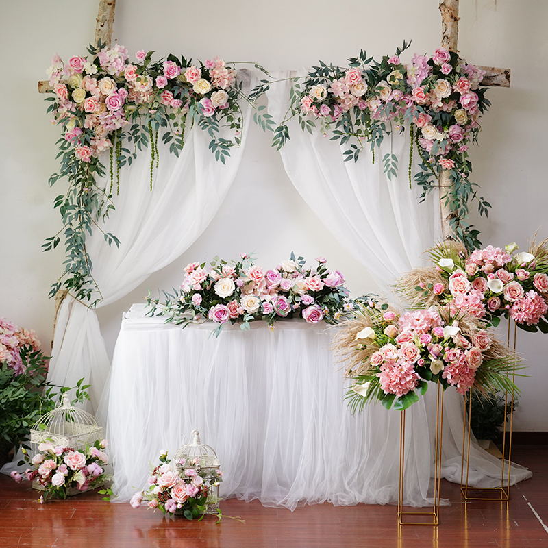 Customize Wedding Background Pink Floral Triangle Flower Row Artificial Decorations Decorative Flowers Fake Flowers arrangement