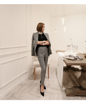 2018 Korean Version The New Fashion Women Long Grey Slim Lady Double Breast Jacket And Trousers Two Pcs Sets Suit Female фото