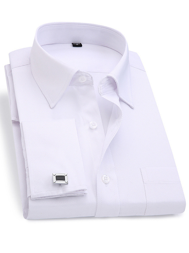 Cufflinks Shirt Slim-Fit Long-Sleeve French Men Men's Casual Male New