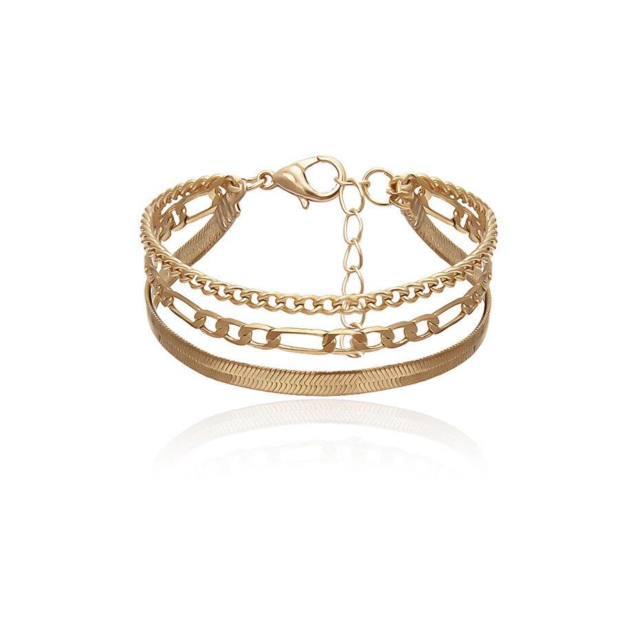 Высокое качество, браслет-цепочка в стиле бохо, змеиная цепочка, браслет, Женская повязка, панк, многослойный, тяжелый металл, толстая цепочка, браслет, пара ювелирных изделий