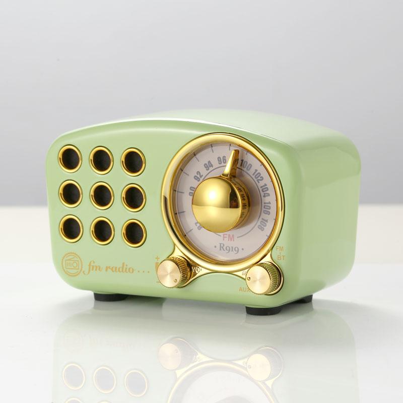 Vintage receptor estéreo de Radio FM Mega Bass SD MP3 PlayerBluetooth Mini Radios Retro construido en la batería altavoz AUX USBrechargeable