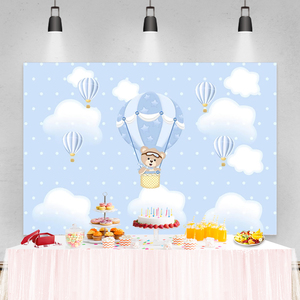 Image 2 - Laeacco Birthday Party Photography Backdrops Blue Sky White Clouds Balloons Bear Newborn Baby Shower Photo Backgrounds Photocall