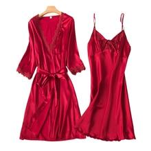 Silk Dress Sexy Womens Tops and Blouses Set Woman Summer Sling Robes Sleepwear Sets Long Sleeve Underwear Women Pijamas Dress