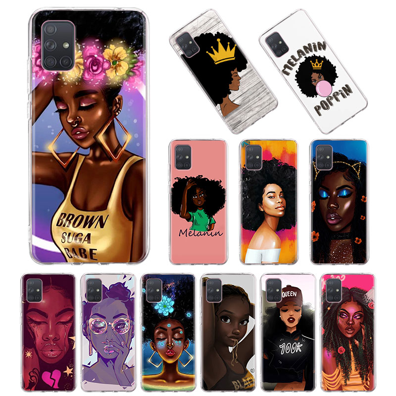 Queen Melanin Poppin Golden Girl Silicone Case for Samsung Galaxy A10 A10E A20E A30 A30S A40 A50 A70 A51 A71 5G A31 A41 Cover image